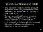 properties of liquids and solids