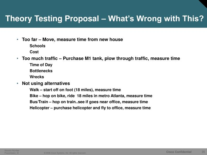 Theory Testing Proposal – What's Wrong with This?