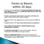 forms to return within 30 days