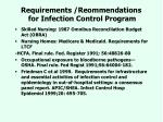 requirements reommendations for infection control program