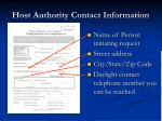 host authority contact information