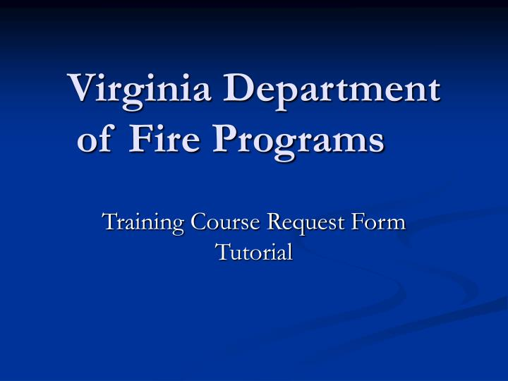 virginia department of fire programs n.