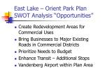 east lake orient park plan swot analysis opportunities