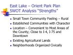 east lake orient park plan swot analysis strengths
