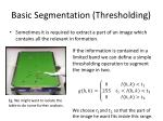 basic segmentation thresholding