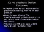 co m obsahovat design document
