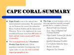 cape coral summary
