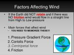 factors affecting wind