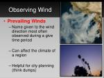 observing wind