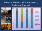 maintain markets for corn wheat soybeans soymeal