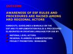 outcome awareness of esf rules and procedures are raised among hrd regional actors