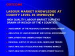 outcome labour market knowledge at county level is improved