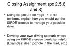 closing assignment pd 2 5 6 and 8