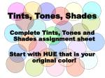 tints tones shades