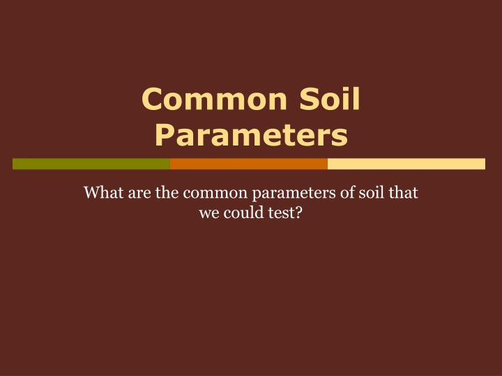 common soil parameters n.