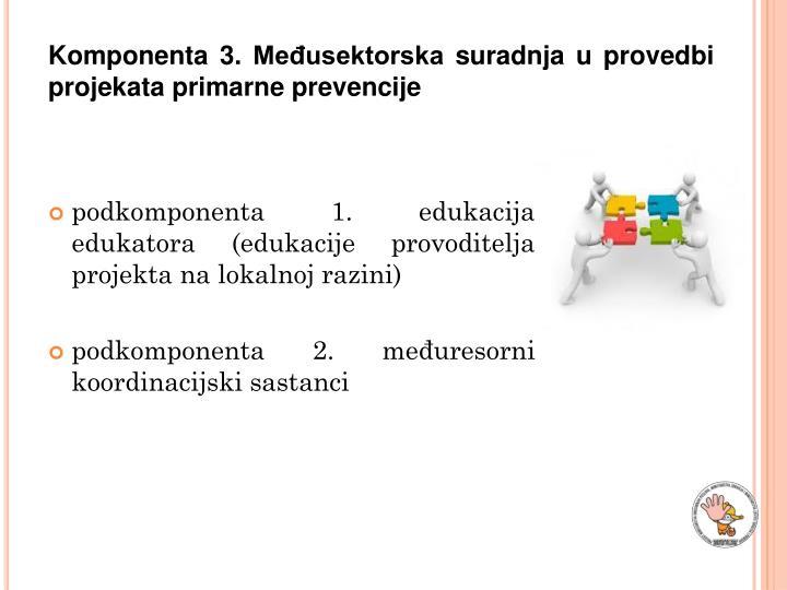 Komponenta 3. Međusektorska suradnja u provedbi projekata primarne prevencije