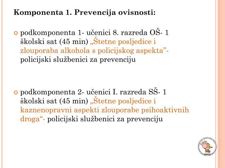 Komponenta 1. Prevencija ovisnosti: