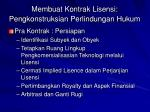membuat kontrak lisensi pengkonstruksian perlindungan hukum