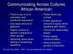 communicating across cultures african american