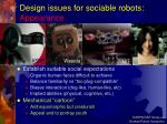 design issues for sociable robots appearance