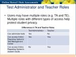 test administrator and teacher roles