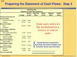 preparing the statement of cash flows step 3