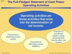 the full fledged statement of cash flows operating activities