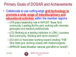 primary goals of dosar and achievements1