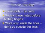 tips for test day