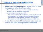 threats in active or mobile code