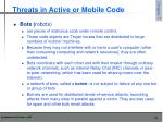 threats in active or mobile code8