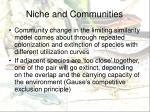 niche and communities