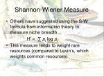 shannon wiener measure