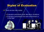 styles of evaluation