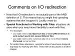 comments on i o redirection