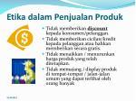 etika d alam penjualan produk
