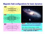 magnetic field configurations for basic dynamos