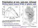 polarization at mm sub mm infrared working toward measure b field of galactic scale