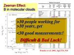 zeeman effect b in molecular clouds