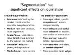 segmentation has significant effects on journalism