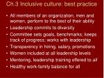 ch 3 inclusive culture best practice