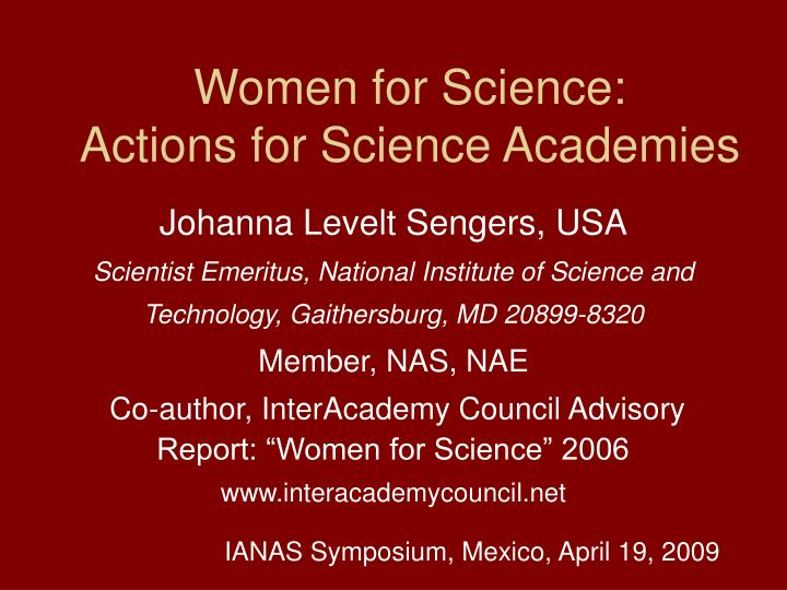 women for science actions for science academies n.