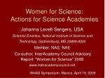 women for science actions for science academies