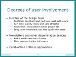 degrees of user involvement