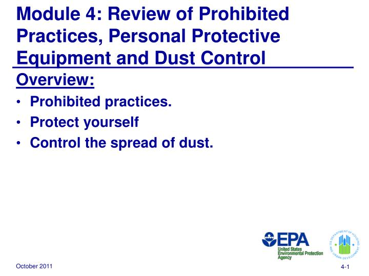 module 4 review of prohibited practices personal protective equipment and dust control n.