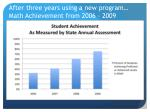 after three years using a new program math achievement from 2006 2009