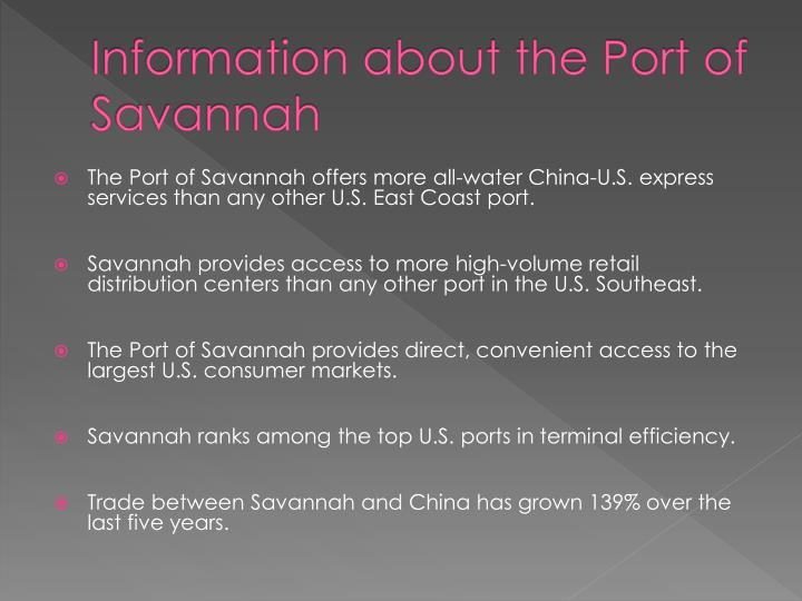 Information about the port of savannah