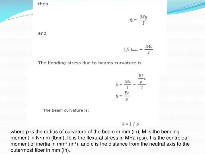 where ρ is the radius of curvature of the beam in mm (in), M is the bending moment in N·mm (lb·in), fb is the flexural stress in MPa (psi), I is the centroidal moment of inertia in mm
