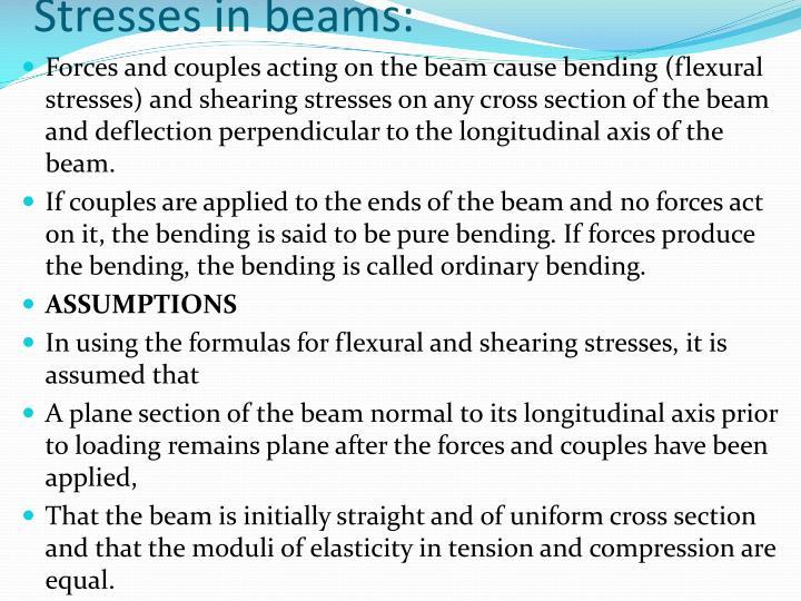 Stresses in beams