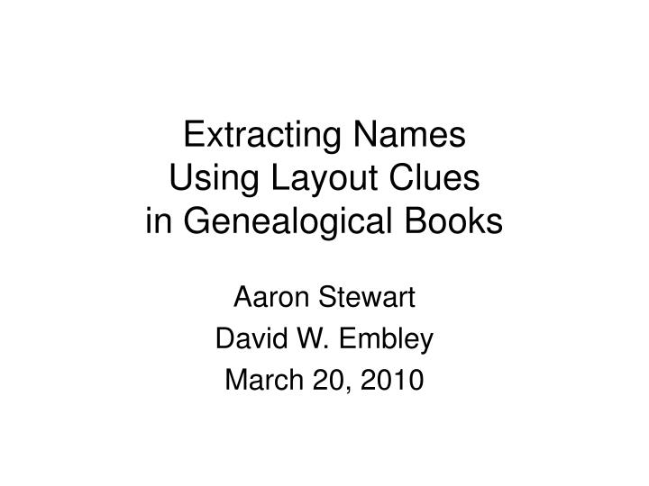 extracting names using layout clues in genealogical books n.